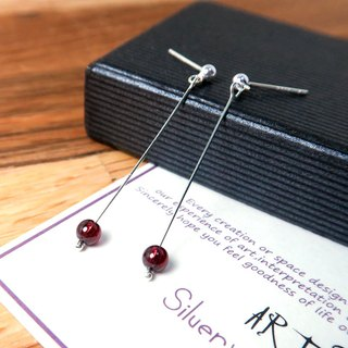 Red Pomegranate Streamer Ear Acupuncture (Small) - 925 Sterling Silver Natural Stone Earrings
