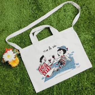 Picnic text style wind canvas bag