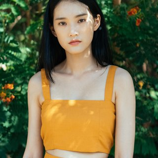 (SIZE M) MUSTARD YELLOW COTTON LINEN TUBE CROP TOP WITH STRAP AND BACK SHIRRING