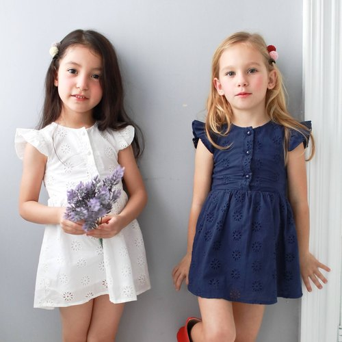 Mother & Daughter Matching Dress : Cotton floral embroidered dress (infant/toddler/girl)