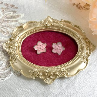 Pink Metal Flower Antique Earrings BKA067