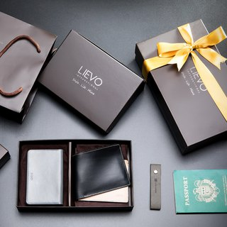 【LIEVO】 SHOW - Business Card Holder - Gray Ink Gray + GRACE - Wax Leather Short Clipped Gift Set