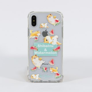 Four corners crash double shatter-resistant shell iPhone X (Fruit Series - Shiba Inu watermelon) [iPhone case]