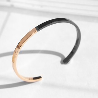 Two-Tone Minimal Cuff Bracelet | Polished Rose Gold x Grey