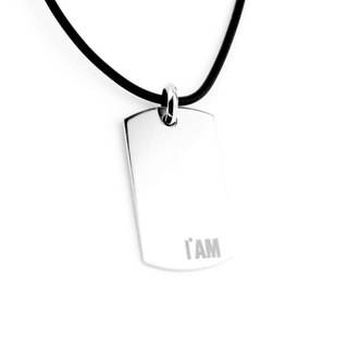 [Free shipping - single-sided lettering] I AM-retro simple series stainless steel military necklace