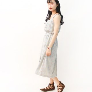 Retro Simple Gray Blue Square Print Thin Shoulder Strap Sleeveless Vintage Dress Vintage Dress