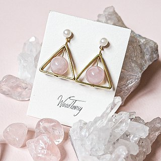 RoseQuartz triangular Non allergic  earrings