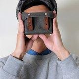 開學季 RED CAPACITY-MOSS-手做磚紅色皮革 暗綠色帆布盒型相機包