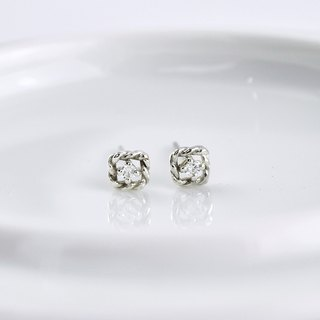 Sterling Silver Twisted Square Frame Earrings with CZ diamond