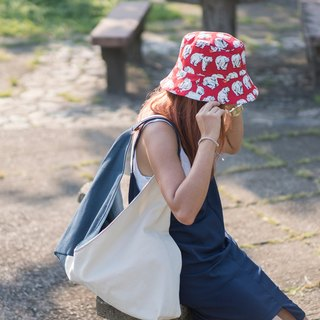Reversible bucket hat Red Apple of polar bear eye  s-m