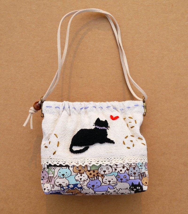 黑貓刺繡零錢包