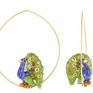 Peacock ring-shaped porcelain earrings Christmas gifts