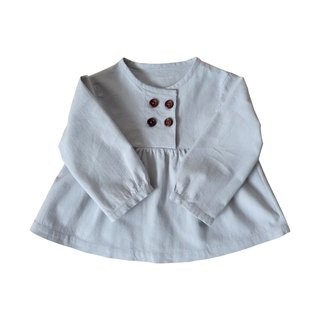 Dove Grey Gathered Blouse Long Sleeve - 100% Cotton - Handmade Children's Clothes