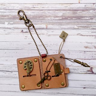 Handmade mini leather book stationery group necklace / strap