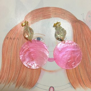 Shell style candy color transparent candy colorful beaded ear clip earrings natural shell pieces (3)