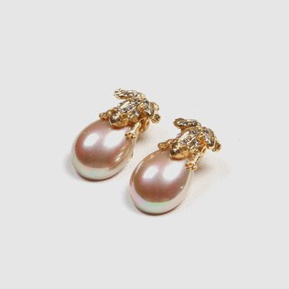 [Egg Plant Vintage] Frog Frog Pearl Clip Antique Earrings