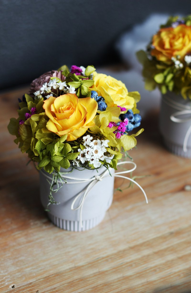 Flower ceremony design [non-withered flower series] cement pot rose