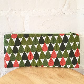 Pencil case with green leaf print