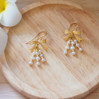 Anniewhere | Classic | Mist Gold Bow Earrings (Replaceable Clips)