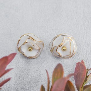 Golden Bloom ~ gold & white porcelain flower tension back earring.