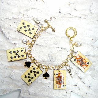 Wood chip punk plated 18k gold bracelet straight flush