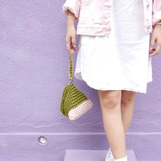 Duo Color Triangle Handbag, crochet, knit, handmade (Olive / Pink)