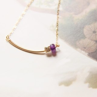 Drill & Amethyst Necklace / Swarovski Crystal Gold Plated & Amethyse