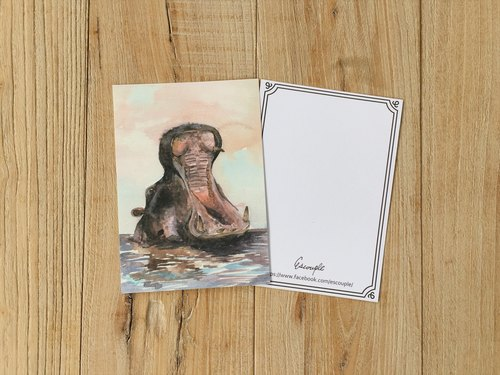 Animal Postcard Yelling Hippo