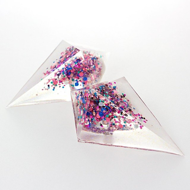 Extra large acute angle pyramid earrings (supernova)