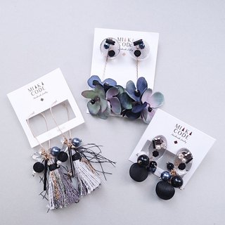 [Early Autumn Offer Set] Premium Black Series Set of Three Handmade Earrings/Ear clips