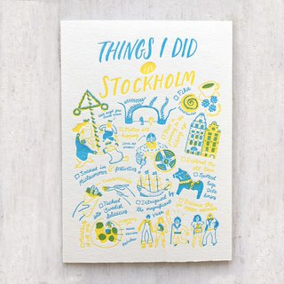 Things I Did in Stockholm Letterpress Postcard