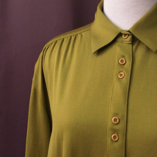 Vintage European Simple Olive Green Plain Thick Long Sleeve Vintage Shirt Vintage Blouse