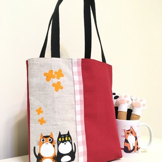 Golden wood rhino and cat lightweight tote bag