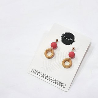 Cranberry Donut Ear Pin / Ear Clamp Handmade Earrings