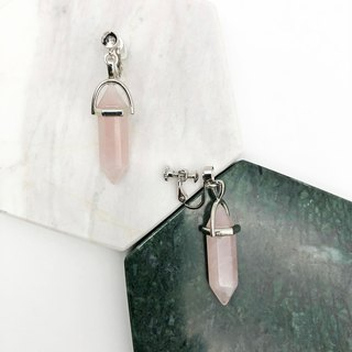 Pink Crystal 925 Silver Earrings 【Unisex Earrings】 【Marble】 【Christmas Gift】
