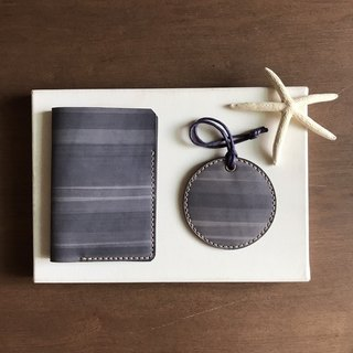 Goody Bag - Passport Case + Round Luggage Tag │ Gray Blue │passport+luggage tag