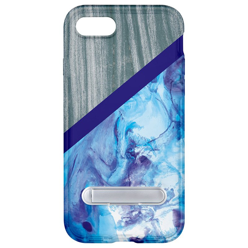 Wood blue marble hidden magnet bracket iPhone 8 7 6 plus mobile phone case