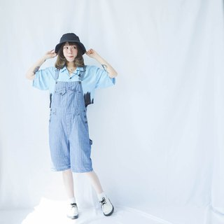 Ancient II Japanese II Blue and Blue Striped Vintage Worker Shorts II