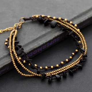 Black Onyx Chain Layer Anklets Brass Braided Free Size Romantic