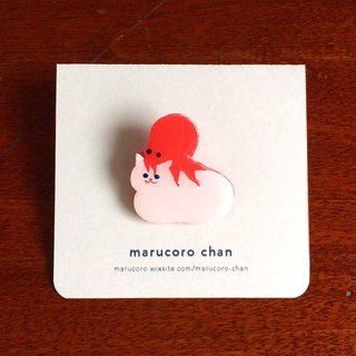 Hand-drawn brooch ◎ octopus place cat
