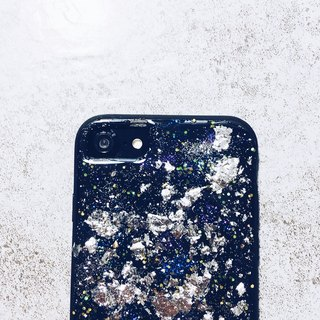 Stardust series ll diffuse purple star dust X retro silver foil ll hand-painted oil painting wind phone shell