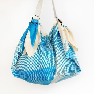 Folded Paper Blue Furoshiki & White leather strap set