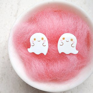 Super cute little ghost handmade earrings anti-allergic ear acupuncture painless ear clip