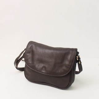 Vintage European 80s Simple Brown Lightweight Multi-Layer Outing Side Back Antique Bag Vintage Bag