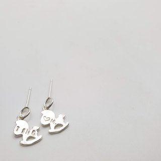 E15 - pure silver ear pin pony shape 925 silver needle (1 pair) - can be typed - custom ear