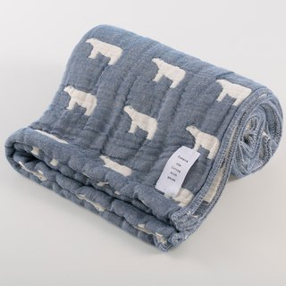 [Japan made immediate crepe] six heavy yarn bath towel - blue polar bear