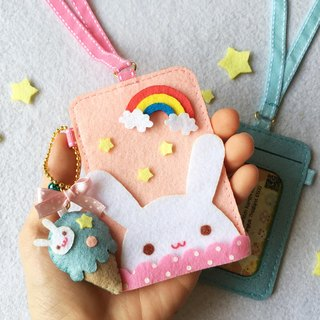 Rabbit card holder with neck strap and keychain.