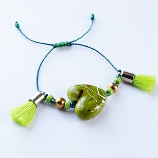 Lime green hand-painted heart with tassel string bracelet