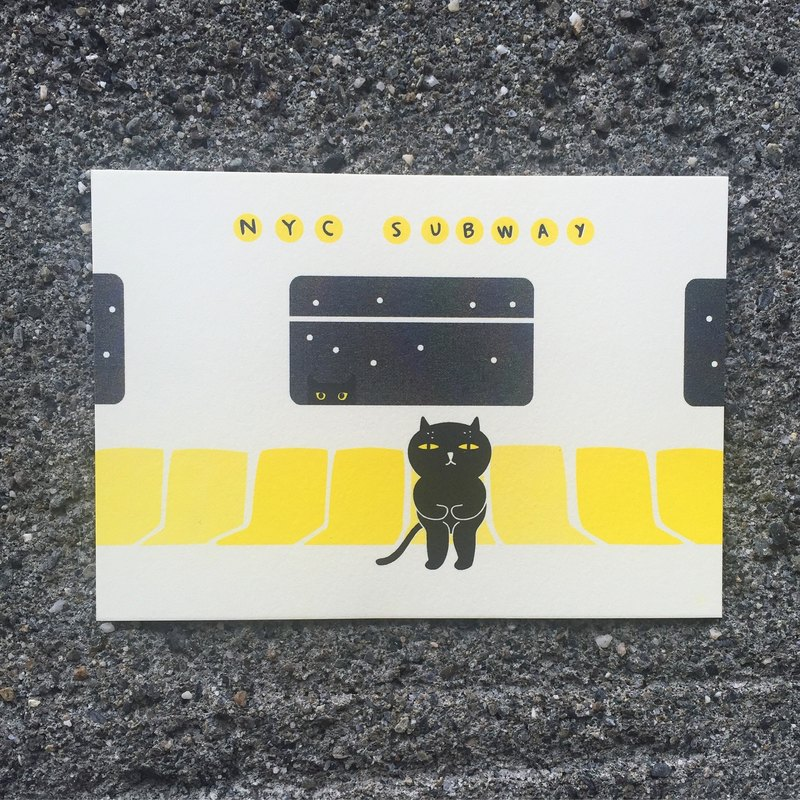 壞貓咪搭地鐵 明信片