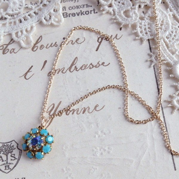 14 kgf vintage Swarovski small turquoise necklace 173